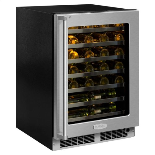 """Marvel Professional 24"""" High Efficiency Single Zone Wine Refrigerator - Stainless Frame, Glass Door With Lock - Integrated Left Hinge, Professional Handle"""