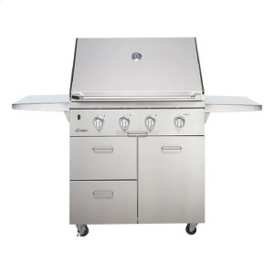 """DACORDiscovery 36"""" Outdoor Grill Cart in Stainless Steel with Chrome Trim"""