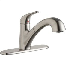Elkay Everyday Single Hole Deck Mount Kitchen Faucet with Pull-out Spray Lever Handle and Escutcheon Lustrous Steel