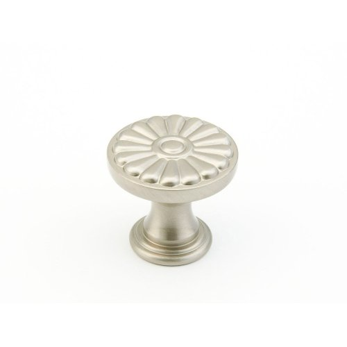 "Solid Brass, Montcalm, Round Knob, 1-3/8"" diameter, Satin Nickel finish"