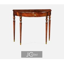 Demilune Console Table of Drawer in Antique Mahogany