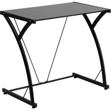 Contemporary Tempered Black Glass Computer Desk with Matching Frame