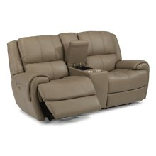 Nance Leather Power Reclining Loveseat with Console and Power Headrests