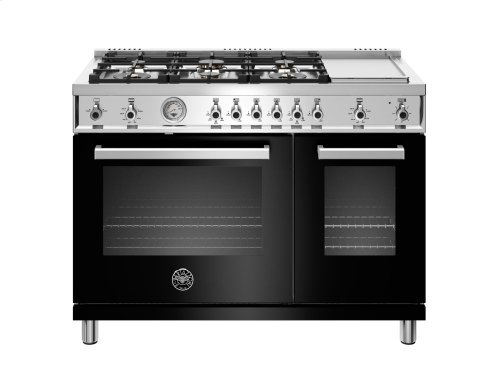 48 inch All-Gas Range 6 Brass Burner and Griddle Black