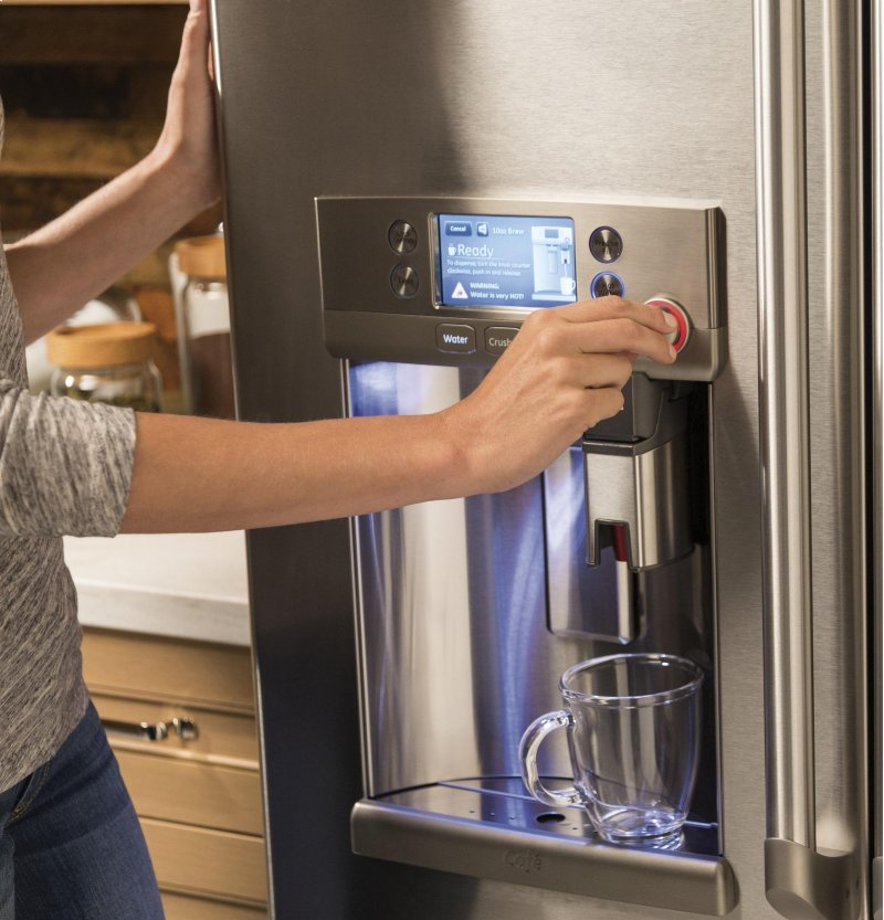 GE Cafe™ Series ENERGY STAR® 27 8 Cu  Ft  French-Door Refrigerator with  Keurig® K-Cup® Brewing System