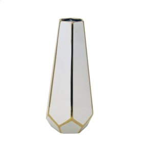 White/gold Faceted Vase 11""