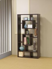 - Ten shelf bookcase finished in cappuccino- Constructed with MDF, particle board, and engineered veneer- Also available in white (#800157) and weathered grey (#800512) Product Image