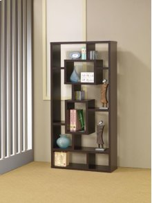 - Ten shelf bookcase finished in cappuccino- Constructed with MDF, particle board, and engineered veneer- Also available in white (#800157) and weathered grey (#800512)