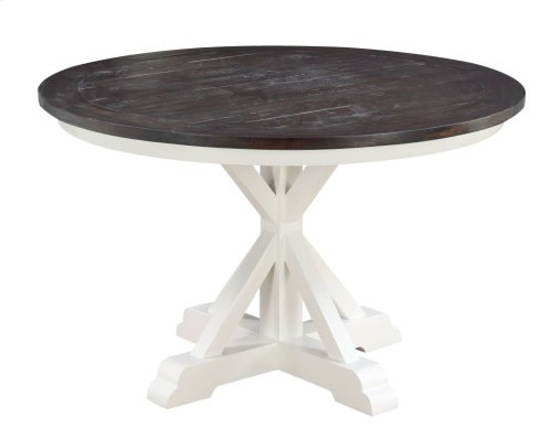 """Emerald Home Mountain Retreat 54"""" Round Dining Table-top Dk Brown-base Antique White D601-14"""