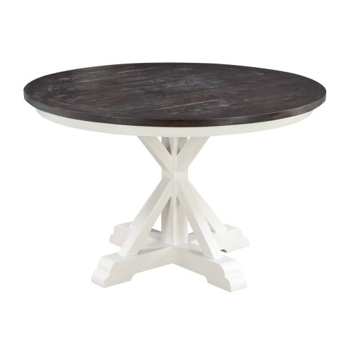 "Emerald Home Mountain Retreat 54"" Round Dining Table-top Dk Brown-base Antique White D601-14-09"