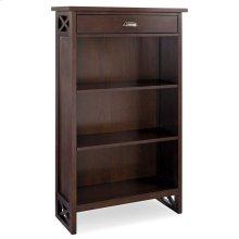 Chocolate Oak Mantel Height 3-Shelf Bookcase with Drawer Storage #81262