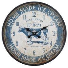 Ice Cream Farm Blue Wall Clock