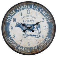 Ice Cream Farm Blue Wall Clock