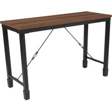 Brentwood Collection Rustic Walnut Finish Console Table with Industrial Style Steel Legs