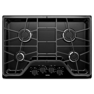 30-inch 4-burner Gas Cooktop with Power Burner - BLACK