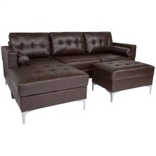 Riverside Upholstered Tufted Back Sectional with Left Side Facing Chaise, Bolster Pillows and Ottoman Set in Brown Leather