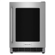 "KitchenAid® 24"" Undercounter Refrigerator with Glass Door and Metal Trim Shelves - Stainless Steel"