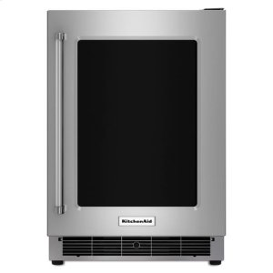 "KitchenAidKitchenAid® 24"" Undercounter Refrigerator with Glass Door and Metal Trim Shelves - Stainless Steel"