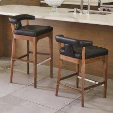 Moderno Bar Stool-Black Marble Leather