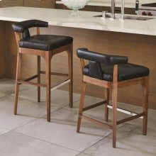 Moderno Bar Stool-Black Marble Leather
