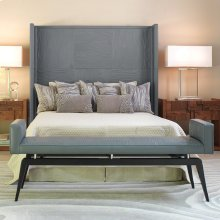 Faux Bois Grey Leather Headboard-Queen