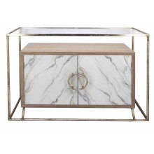 Gold Metal Console Table, White Cabinet
