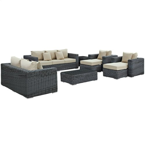Summon 9 Piece Outdoor Patio Sunbrella® Sectional Set in Canvas Antique Beige