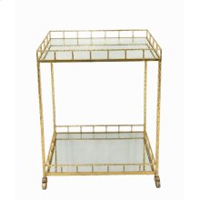 2-tier Gold Metal Bar Cart, Mirrored Top