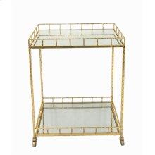 2-tier Gold Metal Bar Cart, Mirrored Top