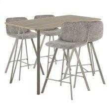 Sedona 5-piece Counter Set - Brushed Antique Metal, Brown Wood, Grey Fabric