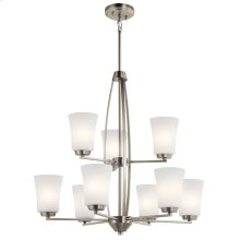 Tao 9 Light Chandelier Brushed Nickel