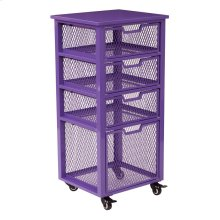 Clayton 4 Drawer Rolling Cart In Pink Metal Finish Frame, Fully Assembled.