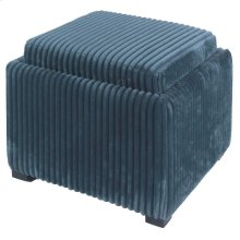 Cameron Square Fabric Storage Ottoman w/ tray, Midnight Thames Blue