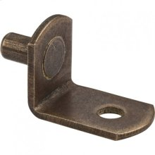 "Antique Brass 5 mm Pin Angled Shelf Support with 3/4"" Arm and 1/8"" Hole"