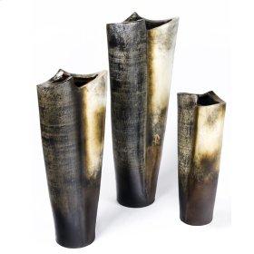 Bone Black Finish Conic Italian Vases (Set of 3)