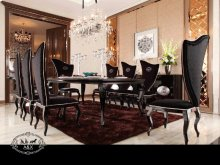 A&X Sovereign Transitional Black Crocodile Dining Table w/ Black Gloss Legs