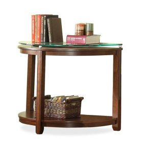Inspiration Retro Demilune Sofa Table Warm Brandy finish