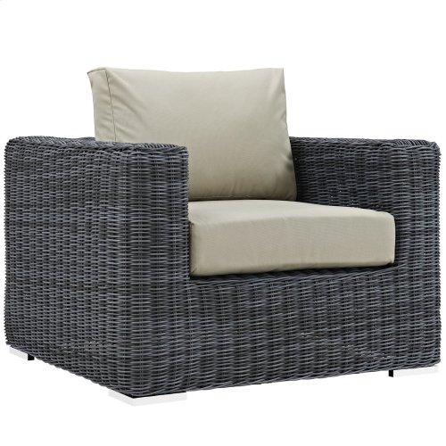 Summon Outdoor Patio Fabric Sunbrella® Armchair in Canvas Antique Beige