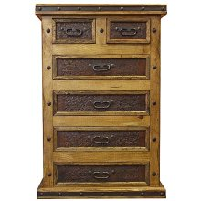 6 Drawer Chest W/Tooled Leather