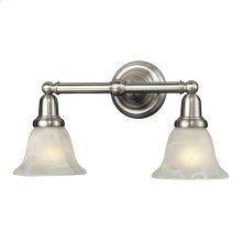2LIGHT GLASS BATH BAR in SATIN NICKEL FINISH
