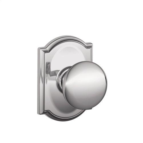 Plymouth Knob with Camelot trim Hall & Closet Lock - Bright Chrome