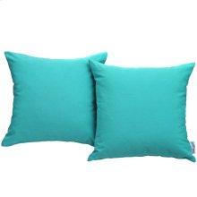 Convene 2 Piece Outdoor Patio Wicker Rattan Pillow Set in Turquoise