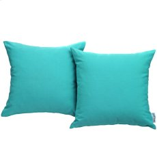 Convene Two Piece Outdoor Patio Pillow Set in Turquoise Product Image