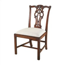 Carved Aged Regency Finished Mahogany Chippendale Side Chair, Woven Caramel Fabric