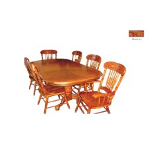 Oak Veneer Dbl. Ped. Table