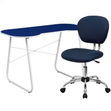 Navy Computer Desk and Mesh Chair
