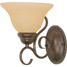 1-Light Wall Mounted Vanity Light Fixture in Sonoma Bronze with Champagne Glass
