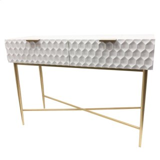 Reggie Geometric Console Table 2 Drawers Gold Legs, Glossy White *NEW*