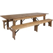 9' x 40'' Antique Rustic Folding Farm Table and Two Bench Set