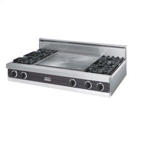 "Graphite Gray 48"" Open Burner Rangetop - VGRT (48"" wide, four burners 24"" wide griddle/simmer plate)"